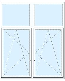 2 tlg. Fenster mit Oberlicht
